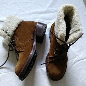 Cole Haan Country Shearling Lined Brown Suede Boot